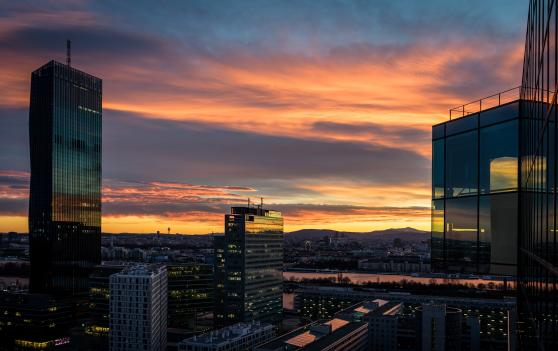 Dawn over Vienna skyscrapers and Danube
