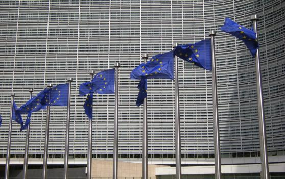 EU flags in Front of Berlaymont building in Brussels
